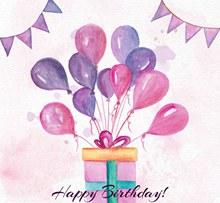 水彩绘系满气球的生日礼盒矢量