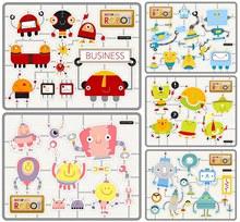多种机器人卡通创意设计V3矢量图下载