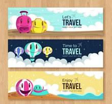 3款可爱表情旅行元素banner图矢量下载