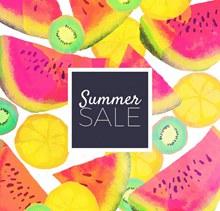 彩绘夏季水果销售招贴画图矢量图