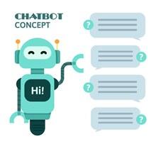 可爱蓝色聊天机器人矢量图下载