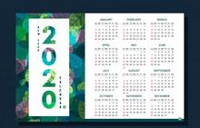 2020年彩色树叶年历矢量素材