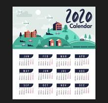 2020年创意城镇风景年历图矢量素材