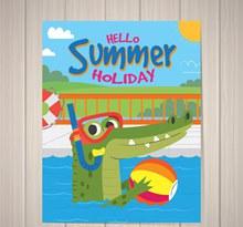 创意玩水的鳄鱼夏季度假传单图矢量