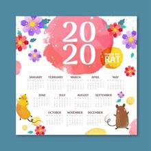 2020年彩绘花卉和老鼠年历图矢量图