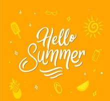 创意黄色夏季艺术字矢量图下载