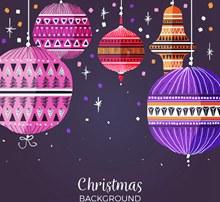 扁平化圣诞节花纹吊球矢量