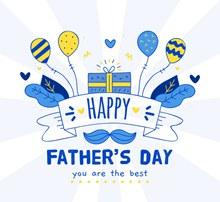 蓝色父亲节祝福贺卡矢量图片