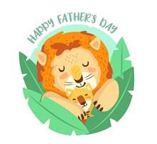 可爱父亲节狮子矢量图