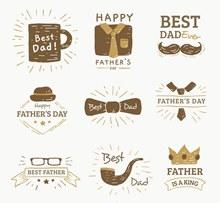 9款手绘风格父亲节标签矢量图