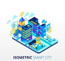 彩色立体智能城市矢量图