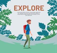 创意树林中的背包男子矢量图片