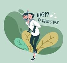 创意父亲节快乐父子矢量图下载