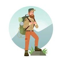 创意背包旅行男子矢量图下载