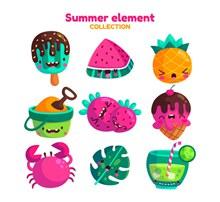 9款卡通夏季表情元素图矢量图片