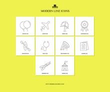 10个现代线图标矢量素材