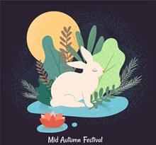创意中秋节月亮白兔矢量图下载