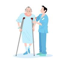 创意病人和医护人员图矢量下载