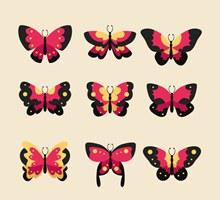 9款红色蝴蝶设计矢量图