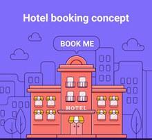 创意预定酒店概念图矢量图片