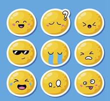 9款创意表情贴纸矢量素材