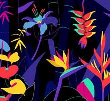 创意热带花草矢量素材