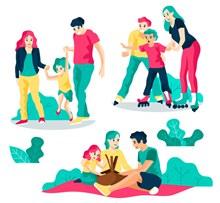3组幸福玩耍的三口之家图矢量素材