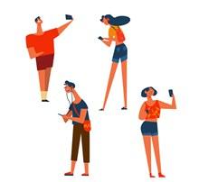4款时尚玩手机人物矢量图片