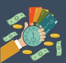 创意握计时器的手臂和银行卡图矢量下载