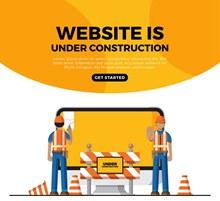 创意人物网页施工中界面矢量
