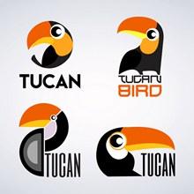 4款创意巨嘴鸟标志矢量图片