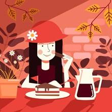创意喝下午茶的女子矢量图