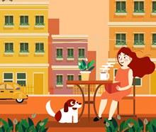 创意喝茶的女子和宠物狗图矢量素材
