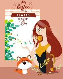 创意喝咖啡女子和猫咪矢量图下载