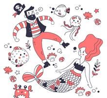 创意海盗和美人鱼矢量图片