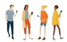 4款时尚玩手机人物设计矢量图片