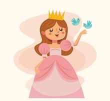 可爱粉色公主和鸟矢量图
