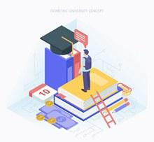 创意立体大学概念图矢量下载