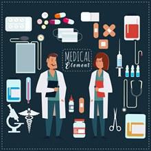 创意男女医生和29款医疗用品图矢量图片