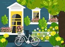 美丽房屋花园单车风景图矢量素材