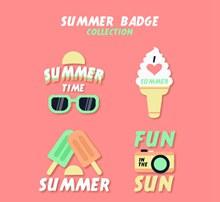 4款精致夏季元素徽章图矢量图