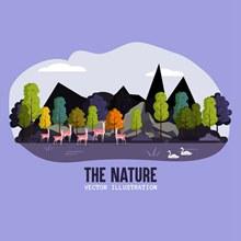 创意山林鹿群自然风景矢量图下载