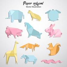 11款彩色动物折纸矢量图