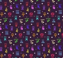 彩色12星座标志无缝背景图矢量素材