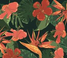 创意热带花卉无缝背景图矢量图片