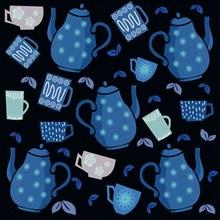 创意茶壶和茶杯无缝背景图矢量素材