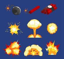 9款创意爆炸物和烟雾矢量