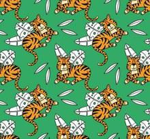 创意老虎和树叶无缝背景图矢量