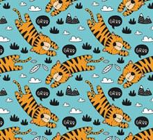 创意老虎无缝背景矢量图