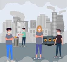 创意城市环境污染插画矢量图